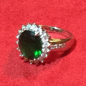 Created Emerald & CZ Ring, size 9